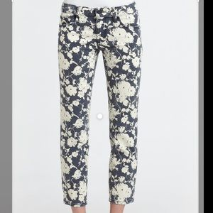 Tory Burch Alexa Cropped Skinny Floral Print Jeans